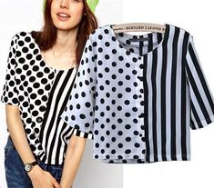 Elegant Polka Dot Striped Print Chiffon Blouse For Women, Black . Read more The post Elegant Polka Dot Striped Print Chiffon Blouse For Women, Black and White appeared first on How To Be Trendy. Kurta Designs, Blouse Designs, Tank Top Outfits, Print Chiffon, Striped Fabrics, Blouse Styles, Ladies Dress Design, Stripe Print, Shirt Blouses