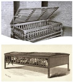 Utica Crib - An adult-size restraint bed used in a New York insane asylum, 1882.