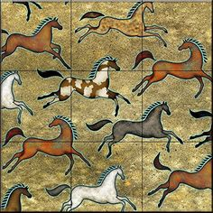 Southwest Horse 5 by Dan Morris - Kitchen Backsplash / Bathroom wall Tile Mural Native Art, Native American Art, Painted Pony, Tile Murals, Equine Art, Decorative Tile, Horse Art, Ancient Art, Beautiful Artwork