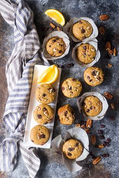 These soft, moist, and flavorful paleo cranberry orange muffins are studded with pecans and spiced just right! Great for the holidays or year round, these muffins are kid approved, gluten free, dairy free, and refined sugar free.