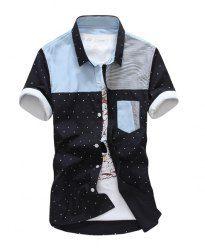 $12.88 Korean Style Shirt Collar Stains Print Stripes Splicing Short Sleeves Cotton Shirt For Men