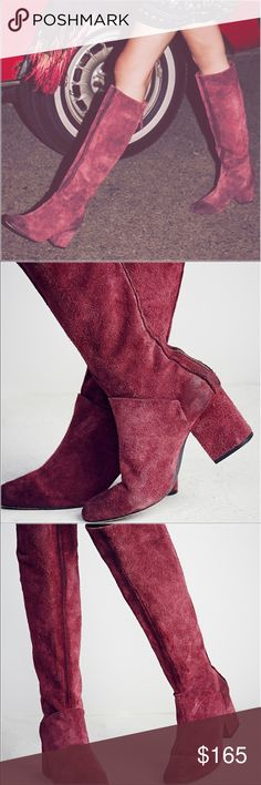 "Free People Vintage Raspberry Tall Boot Euro 38.    Textured and Vintage leather tall boots featuring a rounded toe and a block heel. Exposed back zip for an easy on/off. Range of colorations due to hand washing technique.   Berry Suede: Suede Snake: Leather Black Leather: Leather Made in Portugal Heel: 3.0"" = 7.62 cm Shaft: 17.5"" = 44.45 cm Free People Shoes Heeled Boots"