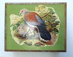 Vintage 1970's Decoupage Cigar Box Woodland Bird by bellafabric