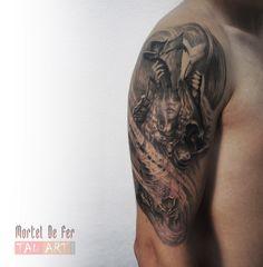 Helmet Tattoo, Armor Tattoo, English Tattoo, Tattoo Photos, Tattoos, Style, Swag, Tatuajes, Tattoo