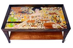 """Gustav Klimt's """"Woman in Gold"""" Two-Tiered Hand-Painted Coffee Table    Interpreter: Sydney Gruber"""