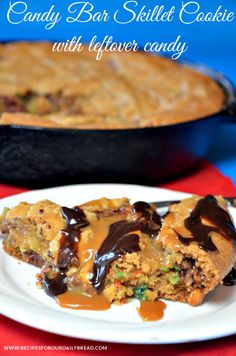 Candy Bar Skillet Cookie with Caramel & Chocolate Sauce