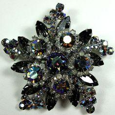 Vintage Juliana D E RARE Smokey Topaz Aurora Borealis Star Rhinestone Brooch Pin | eBay