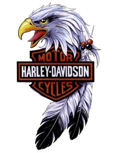 Image issue du site Web http://www.tonystattoogallery.com/wp-content/uploads/eagle-head-with-harley-davidson-logo-tattoo.jpg