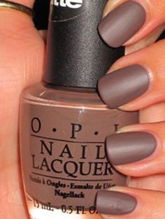 """Matte...  To achieve this look, all you have to do is apply three coats of OPI """"You Don't Know Jacques Matte,"""" pictured here, or any other polish from the OPI matte collection. For this manicure, using a top coat would ruin the matte look and make your nails look shiny. You can, however, use a matte top coat, which can also be found at OPI."""