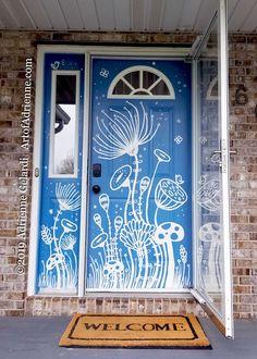Painted Bedroom Doors, Art Room Doors, Painted Closet, Painted Front Doors, Cool Doors, Unique Doors, Mural Painting, Canvas Paintings, Deco Paint