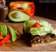 SCD Paleo Low Carb Taco Pie. Pie Crust: 1 1/2 c almond flour; 1/4 c butter, or clarified butter, melted; 1 tsp salt;  Pie Filling: 1 lb ground beef   1 tb Paleo cooking fat   1/2 onion, chopped   1/2 c homemade barbecue sauce   1 c lettuce, chopped   1 red belle pepper, sliced   1 avocado, chopped   Sea salt and freshly cracked black pepper to taste