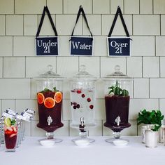 Great drink station for a graduation party, or any party that will include guests of all ages!
