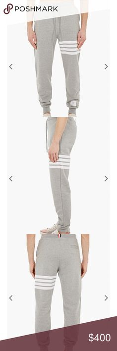 34224bf6a615 Thom Browne grey cotton sweat pants size 0 authentic Thom Browne grey with  white stripes sweat