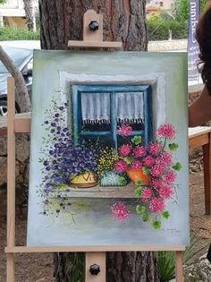 Window with Flowers Original Handmade Acrylic Painting on canvas Painted flowers Blue window Colorfull flowers Wall decor Home gifts Small Canvas Paintings, Christmas Paintings On Canvas, Small Canvas Art, Mini Canvas Art, Acrylic Painting Canvas, Original Paintings, Blue Canvas, Colorful Artwork, Flower Canvas