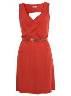 Red Cowl Neck Pintuck Dress