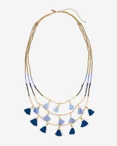 Blue Fabric Tassel Multi-Row Necklace