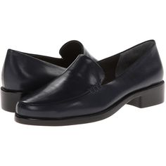 Aerosoles Wish List (Dark Blue Leather) Women's Slip on  Shoes (59 AUD) ❤ liked on Polyvore featuring shoes, navy, leather slip on shoes, aerosoles, navy blue dress shoes, slip-on shoes and navy shoes