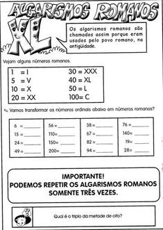 20 Atividades com Números Romanos para Imprimir - Online Cursos Gratuitos Math Worksheets, Printables, Miguel Angel, English, Number Posters, Ordinal Numbers, Geometry Activities, Roman Numerals, Vocabulary