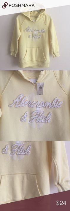 Abercrombie & Fitch yellow hoodie Abercrombie & Fitch yellow 3/4 sleeve hoodie w/white paint splatter detail & raised logo on front - perfect condition NWT Abercrombie & Fitch Tops Sweatshirts & Hoodies