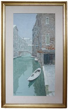 Venezia innevata - Venice with snow Bepi Marino - 1950 Italian Paintings, Venetian, Venice, Snow, Q50, Drawings, Artist, Inspiration, Sailor