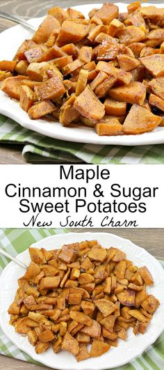 Maple Cinnamon and Sugar Sweet Potatoes are an easy oven roasted side dish that's perfect for Thanksgiving or dinner any night! Side Dish Recipes, Lunch Recipes, Dinner Recipes, Lunch Snacks, Pasta Side Dishes, Vegetable Side Dishes, Potato Recipes, Beef Recipes, Top Recipes