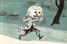 Jack Pumpkinhead. Illustration from vintage Halloween book.