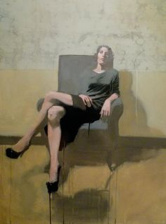 A Molly in Chair, oil on canvas by Michael Carson