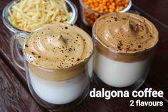dalgona coffee recipe dalgona coffee 2 ways cocoa powder dalgona Recipes With Coffee Beans, Coffee Drink Recipes, Delicious Desserts, Yummy Food, Protein Powder Recipes, American Dishes, Chocolate Powder, Food Decoration, No Calorie Foods
