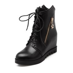 MayMeenth Women's Chains Round Closed Toe High-Heels PU Low-top Boots >>> Click on the image for additional details.