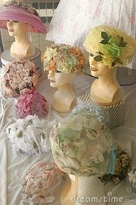Easter bonnets! Love these vintage hats with these lovely millinery posies!