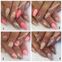 Nude coral & champagne glitter nails