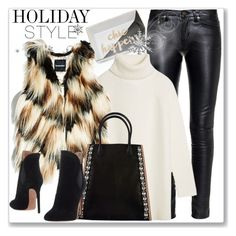 """""""Holiday Style: Leather Pants"""" by andrejae ❤ liked on Polyvore featuring Yves Saint Laurent, Tory Burch, GUESS by Marciano, Marni, Alaïa and holidaystyle"""