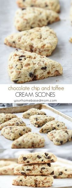 Chocolate Chip and Toffee Cream Scones Recipe - These chocolate chip and toffee cream scones are perfect for your next tea party or with your favorite hot beverage!