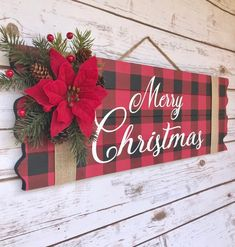 Your place to buy and sell all things handmade : Buffalo Plaid Christmas Decor Merry Christmas Sign Christmas Christmas Wood Crafts, Christmas Mantels, Plaid Christmas, Rustic Christmas, Holiday Crafts, Christmas Holidays, Christmas Wreaths, Christmas Ornaments, All Things Christmas