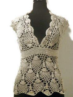 Ganchillo piña superior verano ganchillo blusa de por CrochetByMel