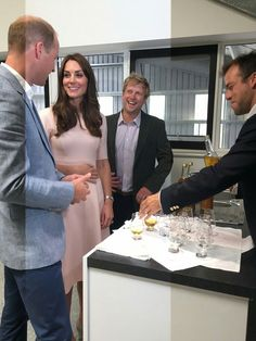 "Kate & William try some apple juice at Healeys Farm. ""Where's the alcoholic stuff?"" Joked Wills. That's next…"