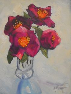 Daily Painting, Flower Painting, Small Oil Painting, Rose of Sharon by Carol Schiff, 6x8 Oil -- Carol Schiff