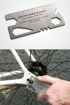 Broke Bike Alley – Bike Repair Shop – 32 Creative And Unique Business Cards That Stand Out Business Card Maker, Unique Business Cards, Creative Business, Corporate Design, Business Card Design, Branding Design, Identity Branding, Brochure Design, Visual Identity