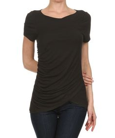Black Ruched-Side Wrap Top by One Fashion #zulily #zulilyfinds