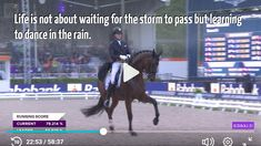 Life is not about waiting for the storm to pass but learning to dance in the rain. European Championships, Learn To Dance, Dancing In The Rain, Horse Stuff, Dressage, Waiting, Photo And Video, Learning, Videos