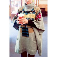Ethnic Style Turtleneck Batwing Sleeve Loose-Fitting Printed Women's Sweater