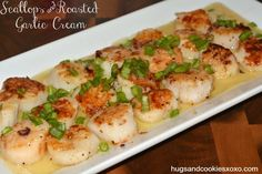 scallops-garlic cream sauce  *use coconut milk instead of cream, also recipe calls for immersion blender
