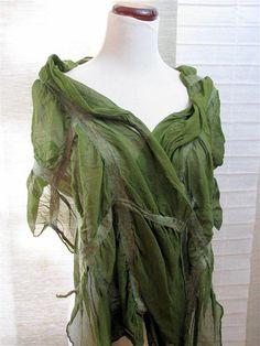 Wool Wrap Silk Wrap Ruffled Nuno Felted Silk Scarves by fullenstar, $67.00