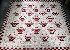 basket quilt by Laura @ Butterfly Quilting Antique Quilts, Vintage Quilts, Red Basket, Two Color Quilts, Butterfly Quilt, Red And White Quilts, Cute Quilts, Quilted Throw Blanket, Basket Quilt