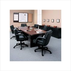 Global Total Office Boat Shaped 10' Conference Table with Slab Base - GCT10WBX2BU-X  $800