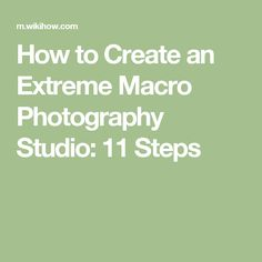How to Create an Extreme Macro Photography Studio: 11 Steps