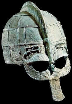 Early viking helmet. The helmet is a boar helmet, possibly the type mentioned in Beowulf. Note the wild boar razor back. Earlier helmets are more ornate as they could get more individual attention from the maker, later ones were simpler aimed at volume production.