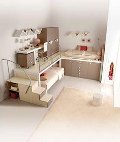 bunte Kinderzimmermöbel kräftig grün orange | Platzsparende Möbel ...