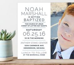 lds baptism announcement baptism invitation by westwillow on Etsy Baptism Pictures, Baptism Ideas, Baby Baptism, Baptism Invitations, Wedding Invitations, Baptism Announcement, Getting Baptized, Baptism Cards, Baptism Decorations