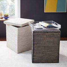 Another possible entryway basket | Modern Weave Tall Lidded Storage #westelm